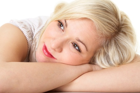 young attractive bored blonde female isolated on white Stock Photo - 11610432