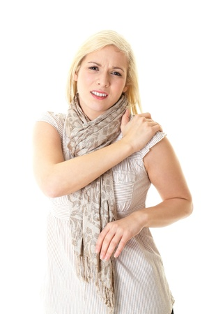 female holds her shoulder, backache concept, isolated on white background Stock Photo - 11615979