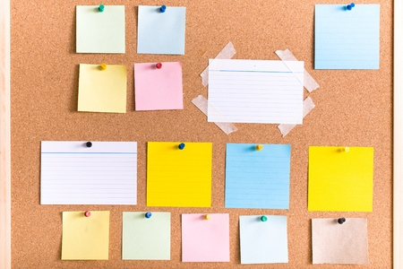 stripped: all different types of notes on cork board, blank, stripped, atached with pin and tape