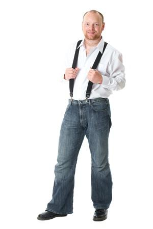 businessman in white shirt and braces, full body studio shoot, isolated on white background Stock Photo - 11617685