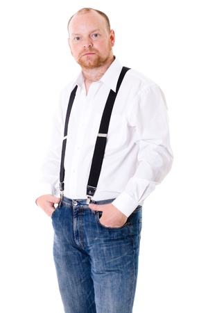 adult in shirt with braces and jeans trousers, studio shoot isolated on white Stock Photo - 11617588