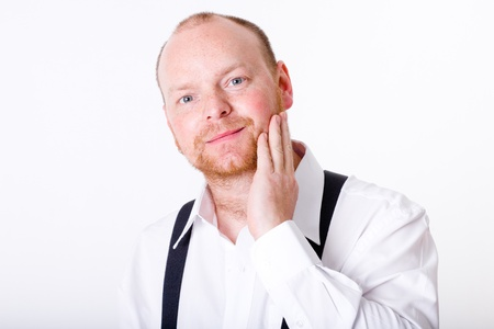 adult, businessman in white shirt with braces, isolated studio shoot Stock Photo - 11617622