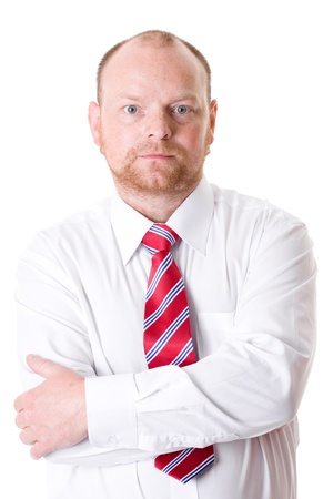 serious businessman in white shirt and red necktie, isolated studio shoot Stock Photo - 11617501