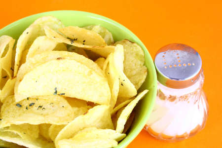 Pile of potato chips-yellow and green Stock Photo