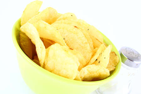gease: Pile of potato chips-yellow and green Stock Photo