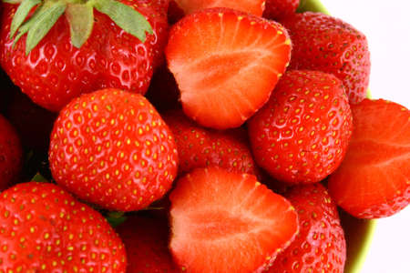 bunch of red strawberries isolated over white Stock Photo