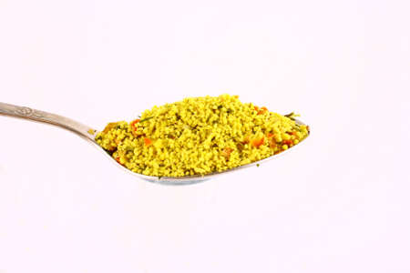 epicure: Different spicery in the spoon to prepare tasty food
