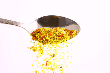 epicure: Different spicery in the spoon to prepare tasty food Stock Photo