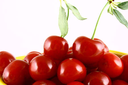 red cherry 100 isolated on white -brown Stock Photo