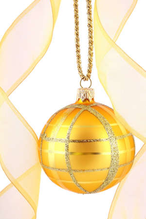 golden decorative Christmas bauble isolated on white