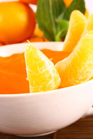 Orange Ripe tangerines on a white background with jelly Stock Photo - 2362297