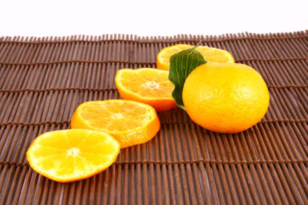 Orange Ripe tangerines on a white background Stock Photo - 2476113
