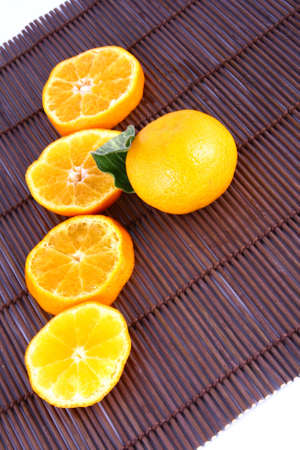 Orange Ripe tangerines on a white background Stock Photo - 2476151