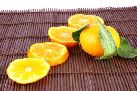 Orange Ripe tangerines on a white background Stock Photo - 2476131