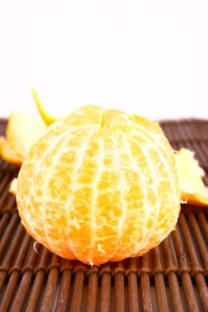 Orange Ripe tangerines on a white background photo