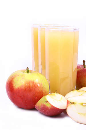 Photo of apple juice on white background