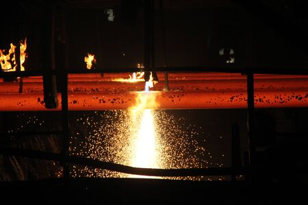 Continuous Casting - To Cutting Billet Stok Fotoğraf - 140657592