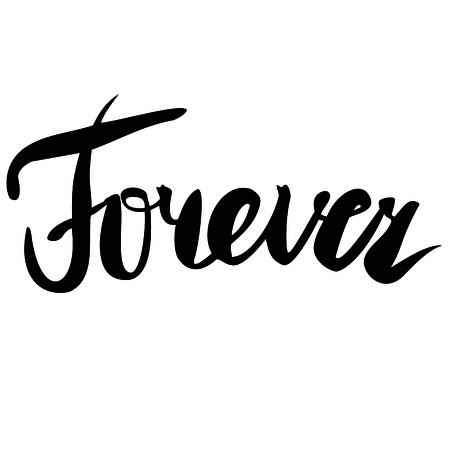 Forever. Handwritten text.