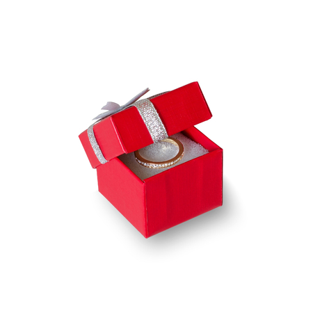 Red box for jewelry. Wedding ring. On white background isolated