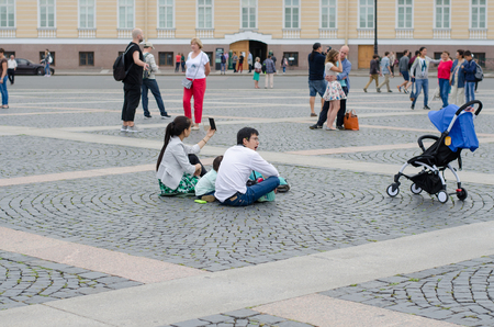 SAINT- PETERSBURG, RUSSIA - August 03, 2016: Palace square. Alexander column, General staff building