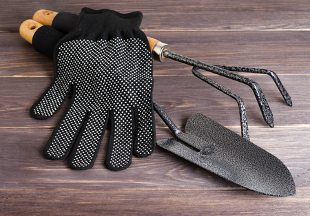 Garden tool and nylon gloves. Wooden background