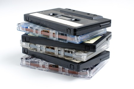 A lot of old audio cassettes. Close up
