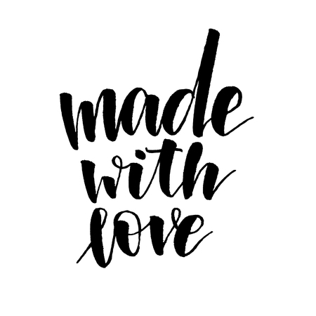 Made with love. Handwritten text. Modern calligraphy. Isolated on white Banco de Imagens