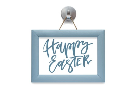 Happy Easter. Modern calligraphy. Blue photo frame. Isolated on white