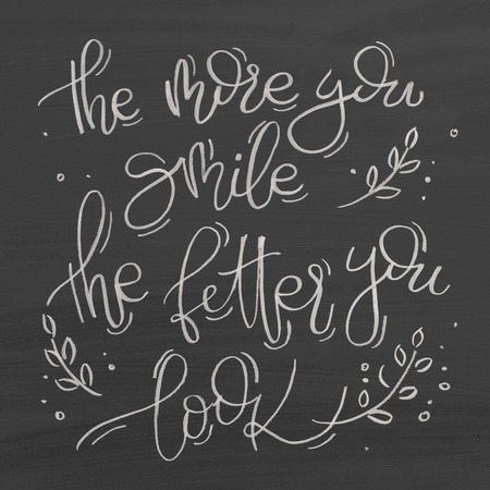 The more you smile the better you look. Text on chalkboard. Inspirational quote