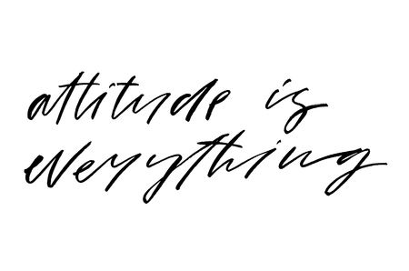 Attitude is Everything. Handwritten text. Modern calligraphy. Inspirational quote. Isolated on white Stok Fotoğraf