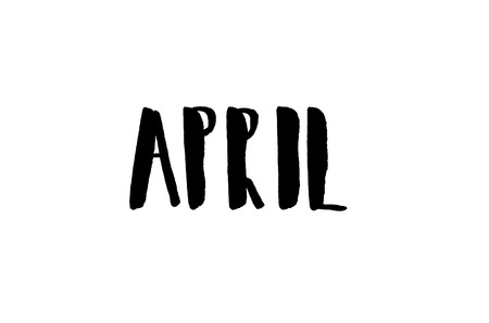April. Handwritten text. Modern calligraphy. Isolated on white