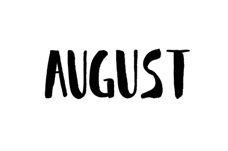 August. Handwritten text. Modern calligraphy. Isolated on white Stok Fotoğraf - 122530343