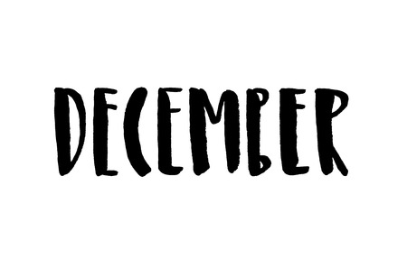 December. Handwritten text. Modern calligraphy. Isolated on white