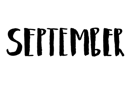 September. Handwritten text. Modern calligraphy. Isolated on white