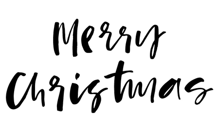 Merry Christmas. Handwritten text. Modern calligraphy. Isolated on white