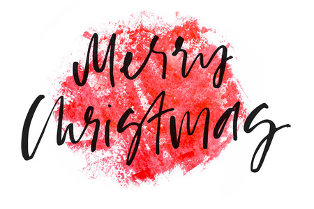 Merry Christmas. Handwritten text. Modern calligraphy. Red watercolor. Isolated on white