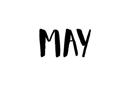 May. Handwritten text. Modern calligraphy. Isolated on white
