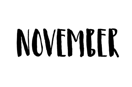 November. Handwritten text. Modern calligraphy. Isolated on white