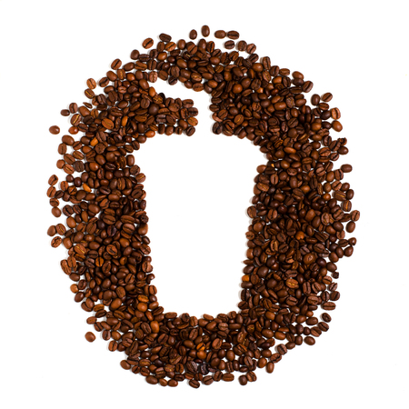 Roasted coffee beans on white background. Space for text in the shape of a coffee plastic Cup Banco de Imagens