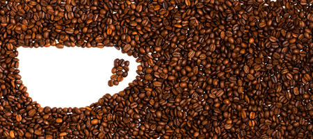 Background of roasted coffee beans. Space for text in the shape of a coffee Cup Banco de Imagens