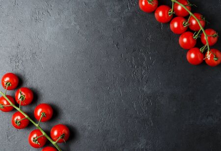 Ripe red tomatoes on a green branch. Vitamin-rich vegetables. Dark background. Flat lay. Copy space
