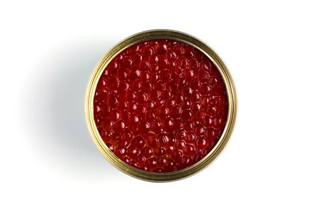 Red caviar of salmon fish. Metal can. White background