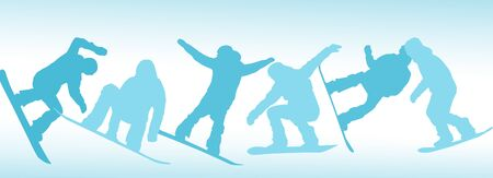 Set of snowboarders contours on white background