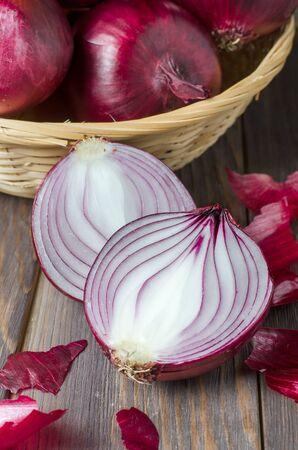 Red onions in a wicker basket