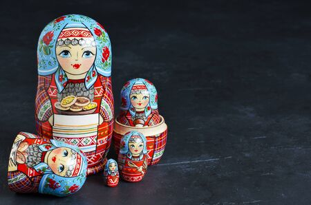 Five red matryoshka. Traditional Russian toy.