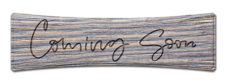 Coming soon. Handwritten inscription on a wooden sign. Isolated on white Foto de archivo