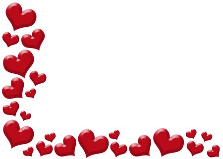 hot love: Heart frame isolated on white background, love decoration.