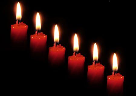 Red candle isolated on black background. Stock Photo - 742320