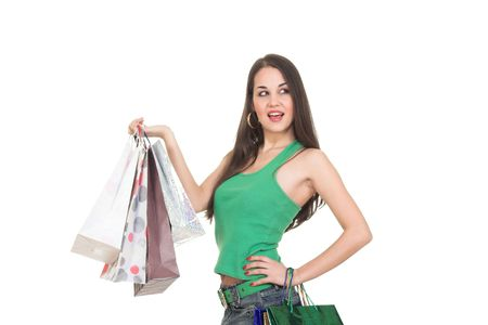 Shopping girl with colorful bag.