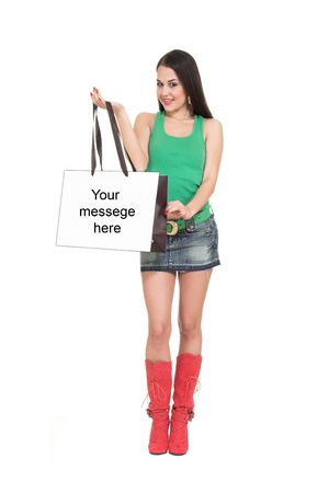 elation: Shopping girl with bag. Stock Photo